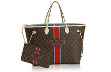 authentic LV neverfull handbag with red stripe