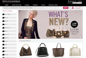 Homepage of spothandbags.co.uk store with various handbag imitations and banner
