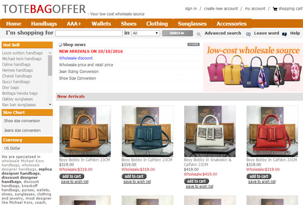 68196622ad36fc Hannah Handbags · screen shot of toteandmore store homepage