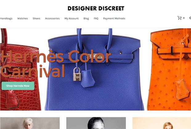Designer Discreet homepage screenshot with 3 hermes bags