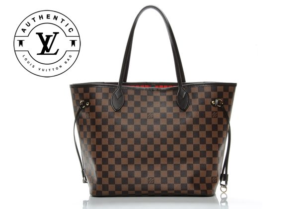 91c7db8fcc83 damier ebene canvas neverfull LV brown handbag