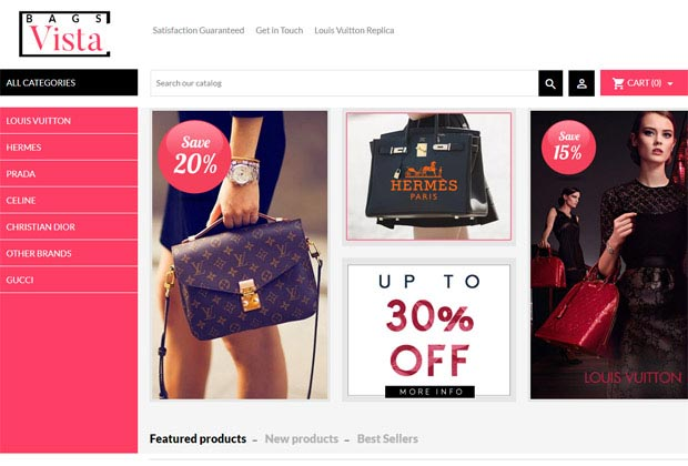 bagsvista store homepage with banners