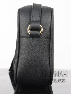 fake black leather bag side