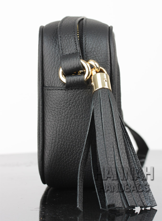 black leather tassel on replica gucci bag