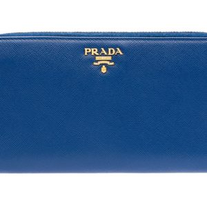 genuine blue prada leather wallet