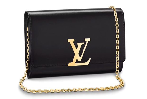 Black Louis Vuitton Chain Louise GM Clutch with gold chain