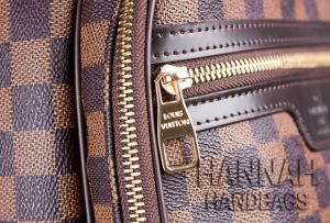 gold color zipper pf fake damier ebene backpack